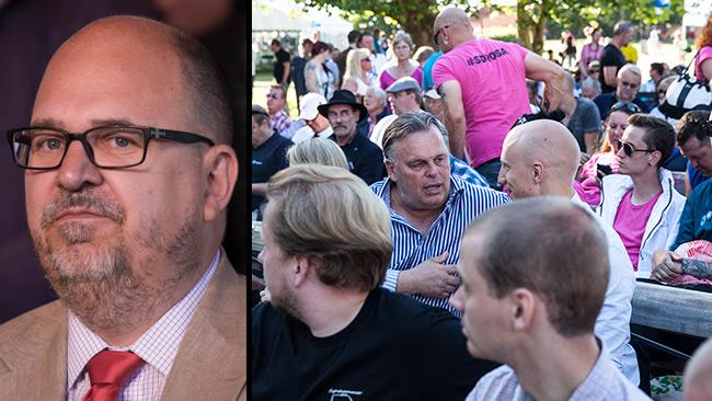 Thorwaldsson slutar inte skälla folk för nazism. Foto: CC Frankie Fouganthin samt Nyheter Idag