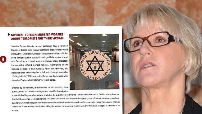 Wallström listas på en åttondeplats på antisemitlistan. Foto: Wikimedia Commons samt faksimil Simon Wiesenthal Center