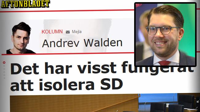 Walden tror på att isolera SD. Foto: Faksimil Aftonbladet / Nyheter Idag