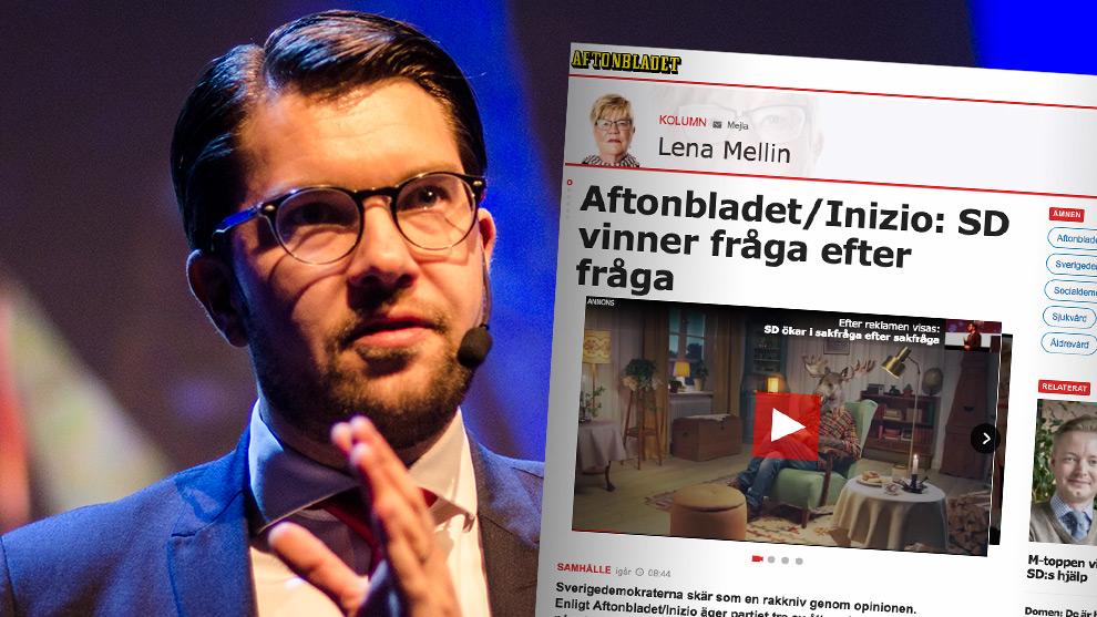 Nu siktar SD på att toppa ligan i ännu fler frågor. Foto: Nyheter Idag samt Faksimil aftonbladet.se