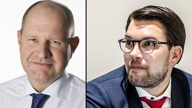 Dan Eliasson (t.v) och Jimmie Åkesson (t.h). Foto: Lars Hedelin samt Nyheter Idag