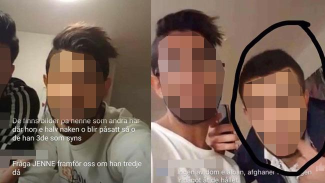 Några av bilderna som sprids i sociala medier från den aktuella våldtäkten.