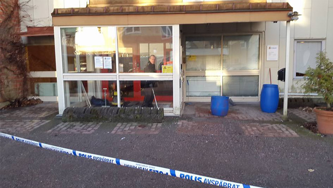 Katrineholms polisstation efter granatattack i Januari Foto: Privat