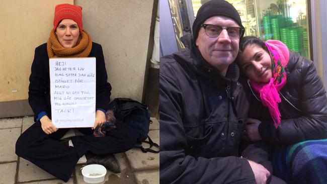 Liv och Per-Otto berättar på Facebook om hur de hjälper tiggare. Foto: Facebook