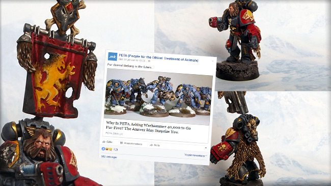 """Warhammer-figur med """"päls"""". Bild: Flickr & faksimil facebook"""
