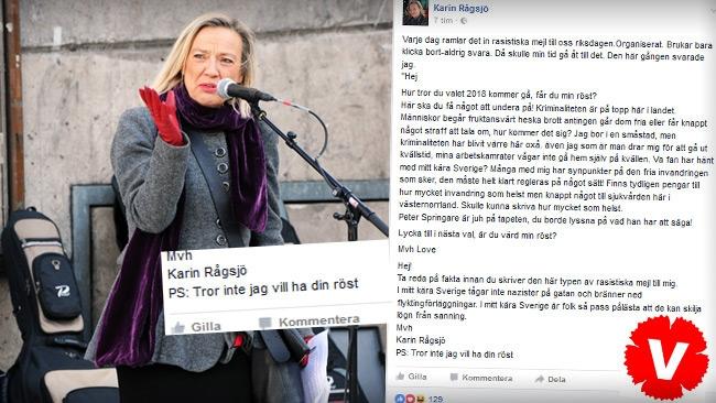 """Riksdagsledamot (V) till orolig väljare: """"Tror inte jag vill ha din röst"""""""