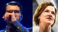 Chocksiffror för Jimmie Åkesson (t.v) och katastrof för Anna Kinberg Batra (t.h). Foto: Nyheter Idag