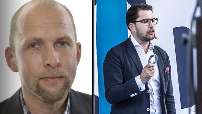 Forsberg (t.v) är åtalad för brott. Hans partiledare (t.h) kräver hårdare straff för brottslingar. Foto: riksdagen.se samt Nyheter Idag