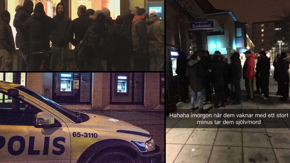Bilder sprids i sociala medier från bankkaoset. Foto: Adrian / Faksimil SVT / Faksimil Facebook