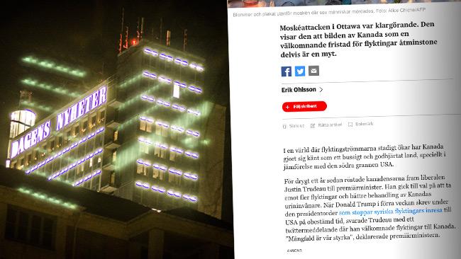Den som sa det kan va det. Foto: Nyheter Idag samt faksimil dn.se
