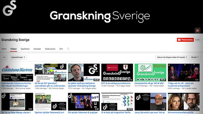 Granskning Sverige har publicerat en lång rad olika intervjuer på Youtube. Foto: Faksimil Youtube