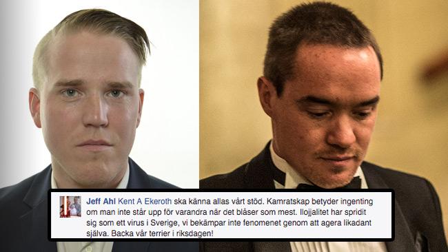 Jeff Ahl (t.v), Kent Ekeroth (t.h) samt Facebook-kommentaren (infälld). Foto: riksdagen.se, Nyheter Idag samt faksimil Facebook.