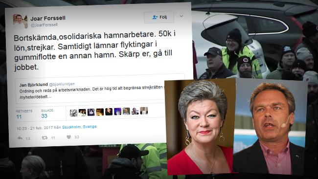 Joar Forsells twitter, Ylva Johansson (S), Jan Björklund (L), hamnarbetare i bakgrunden. Foto: Flickr och Faksimil Youtube och Twitter