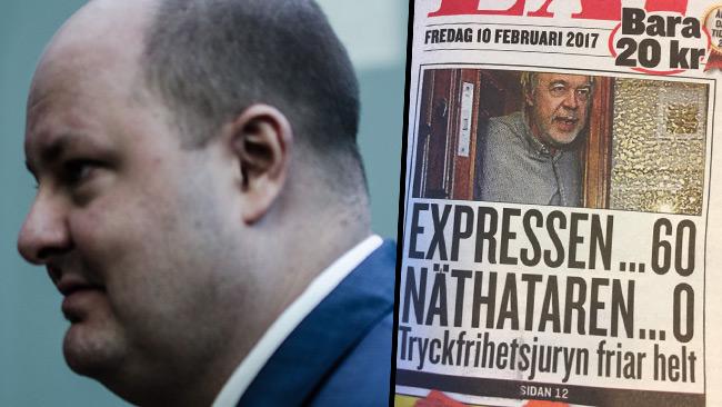 Thomas Mattsson (t.v) och tidningen Expressen (t.h) Foto: Nyheter Idag samt faksimil Expressen
