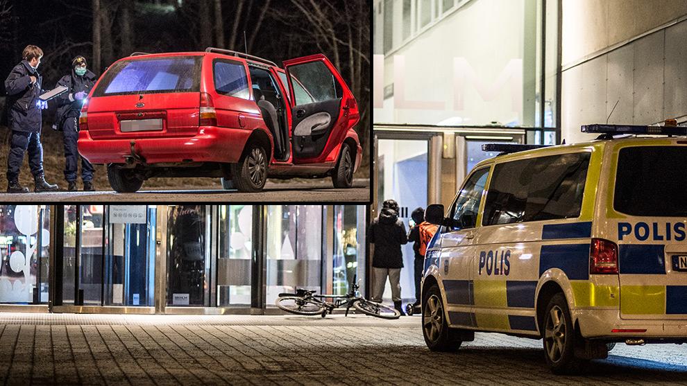 Flyktbilen hittades i Sätra i södra Stockholm. Foto: Nyheter Idag