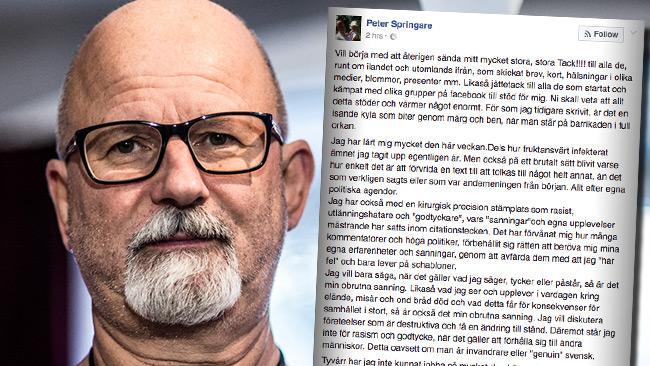 Nu publicerar Peter Springare en nya uppgifter om kriminalitet. Foto: Nyheter Idag samt faksimil Facebook