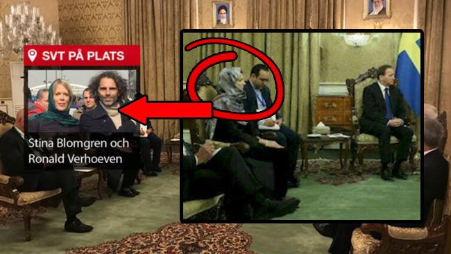 Handelsministern döljs av en infälld bild av SVT. Fotomontage av Nyheter Idag. Foto: Ronald Verhoeven / SVT samt ion.ir
