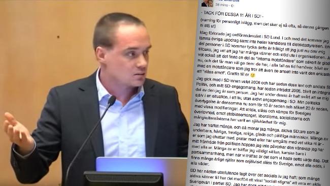 Ted Ekeroth lämnar nu politiken och SD, enligt egen utsago. Foto: Youtube samt faksimil Facebook