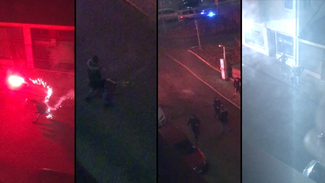 Våldsamma upploppet fångades på video: Här går de till attack mot polisen