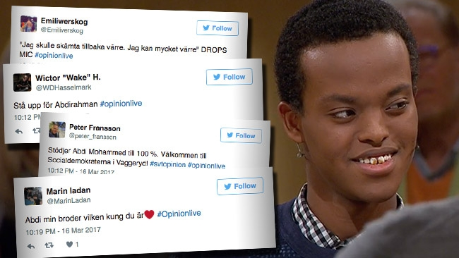 17-årige Abdirahman ägde stort i Opinion Live – Nu tokhyllas han på Twitter