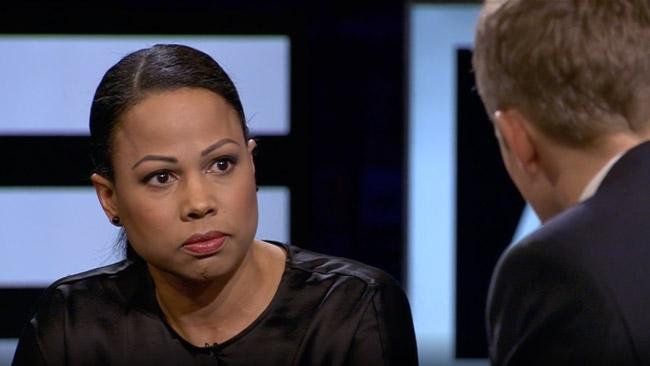 Alice Bah Kuhnke blir pressad i SVT Agenda. Foto: Faksimil svtplay.se