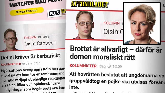 Cantwell menar att han inte alls svängt i frågan om utvisningar. Nu möter han kritik från Jenny Sonesson (infälld). Foto: Faksimil Aftonbladet