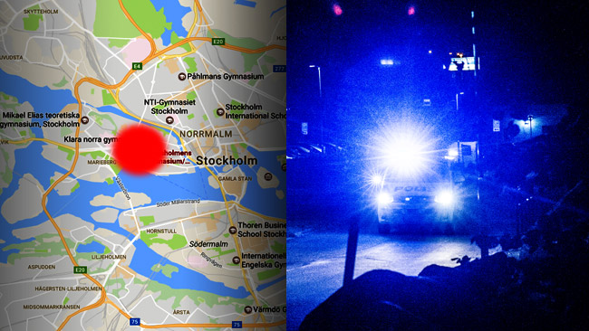 Polis arbetar på platsen. Foto: Arkivbild Nyheter Idag samt Google Maps