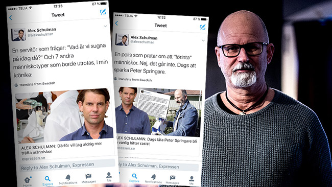 Dubbla budskap från Schulman? Foto: Nyheter Idag samt faksimil Twitter