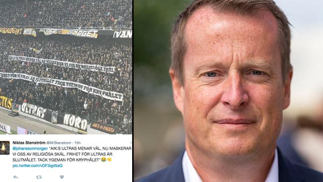 I sociala medier sprids bilder på banderollerna. Till höger Anders Ygeman. Foto: Twitter samt Joakim Berndes / Wikimedia Commons