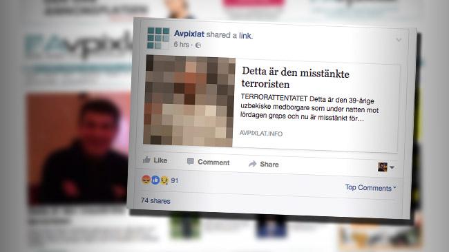 Avpixlat hängde ut fel person i sociala medier för det misstänkta terrorbrottet. Foto: Faksimil Avpixlat / Facebook