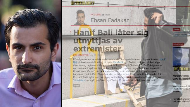 Hanif Bali (t.v) och till höger gömmer sig Ehsan Fadakar bakom en genomskinlig text. Foto: CC Per Pettersson / Nyheter Idag / Faksimil Aftonbladet