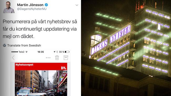 DN möter kritik för att försökt använda terrordådet för att ragga kunder. Foto: Faksimil Twitter samt Nyheter Idag