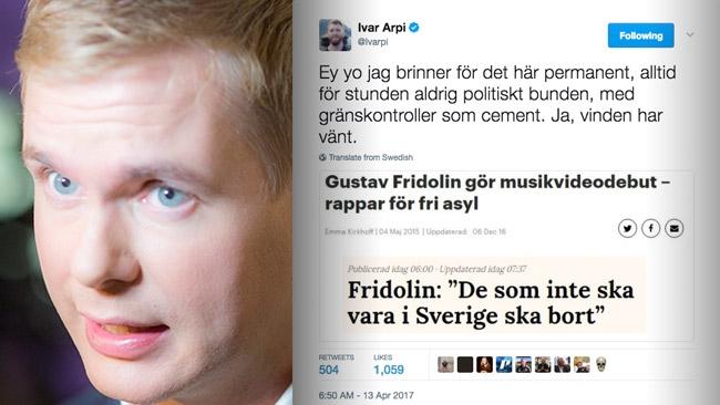 Kappvändningen: Fridolin vill utvisa papperslösa – Tokhånas på Twitter