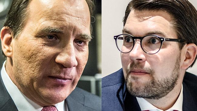 Stefan Löfven (t.v) och Jimmie Åkesson (t.h). Foto: Nyheter Idag