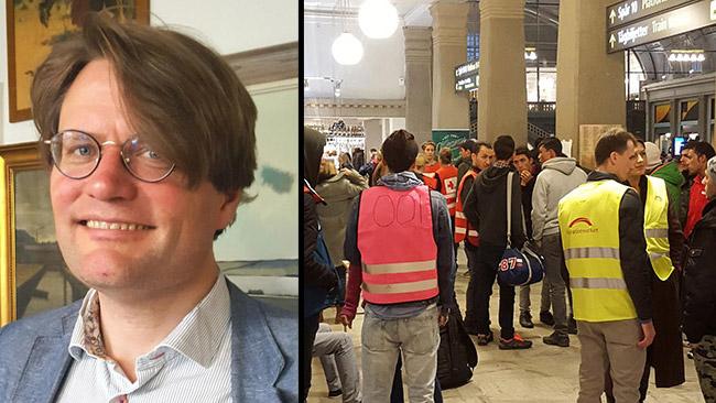 Oskar Hagberg (t.v) och asylsökare på Stockholms central (t.h).