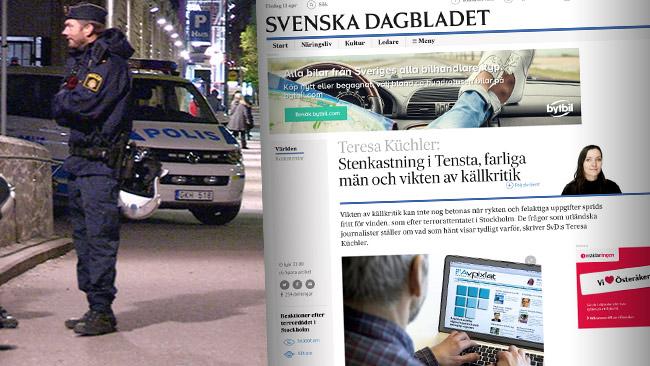 Polis i Tensta (t.v) och Küchlers text i SvD till höger. Foto: Nyheter Idag samt faksimil svd.se
