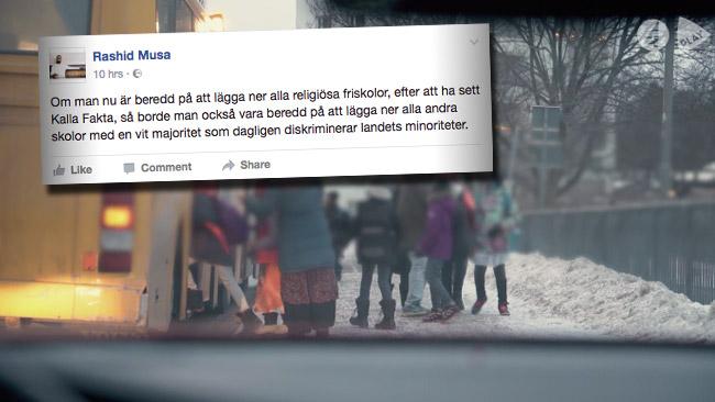 Rashid Musa kommenterar Kalla Faktas avslöjande. Foto: Faksimil tv4.se samt faksimil Facebook