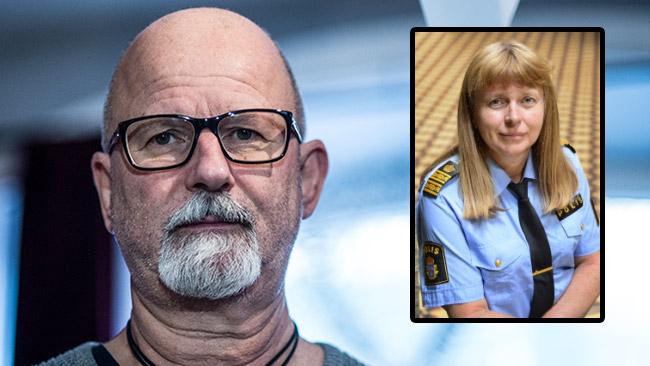 Peter Springare kommenterar fallet med Lena Tysk (infälld). Foto: Nyheter Idag samt polisen.se