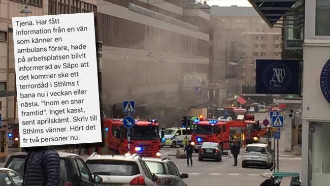 Fem dagar innan terrordådet fick Nyheter Idag ett tips om att det var nära förestående med ett dåd. Foto: Privat