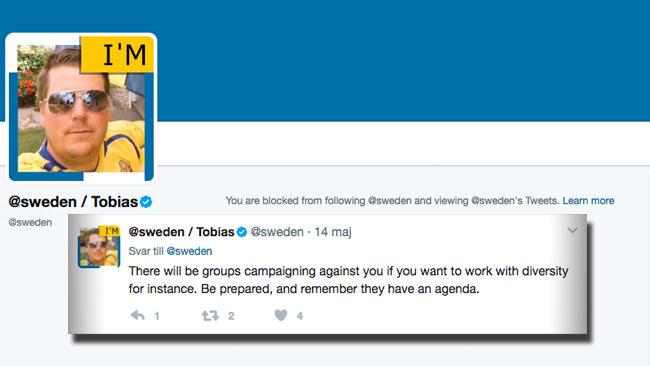 OBSERVERA! Personen som just nu skriver på Twitter-kontot har inget med åsiktsregistrering eller blockeringslistan att göra.