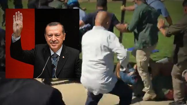 Här misshandlar Turkiska presidentens livvakter demonstranter i USA