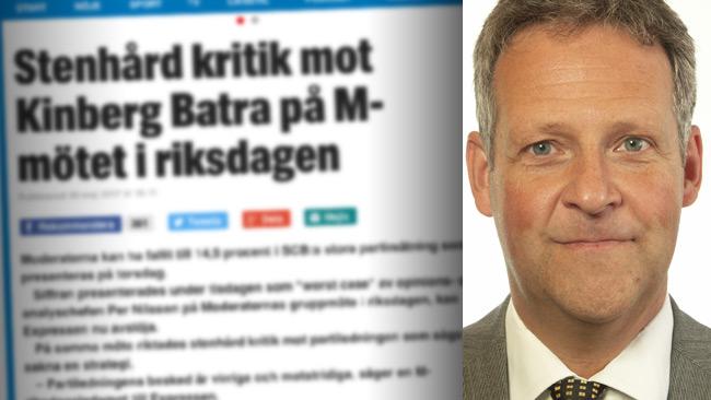 Uppgifterna i Expressen stämmer inte, säger Jan Ericsson (M) som själv närvarade på mötet.
