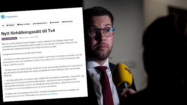 SD reagerar kraftfullt mot TV4 i ett pressmeddelande. Foto: Nyheter Idag