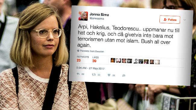 Jonna Sima möter blytung kritik för sitt kontroversiella twittrande. Foto: Nyheter Idag