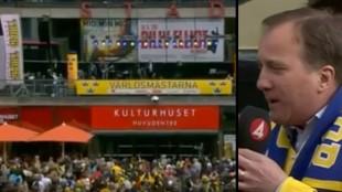 Massiva protester bröt ut när Löfven presenterades. Foto: Faksimil Youtube samt svtplay.se