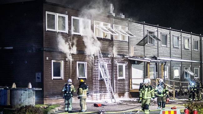 Modulhus för flyktingar i Fagersjö sattes i brand i oktober 2016. Foto: Nyheter Idag