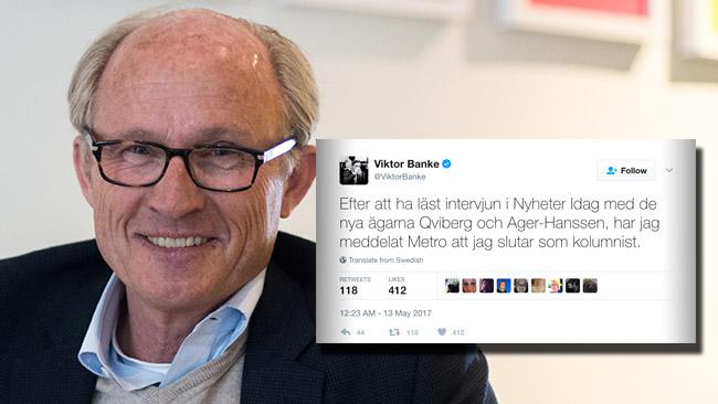 Viktor Banke slutar på Metro efter Nyheter Idags intervju med Qviberg. Foto: Nyheter Idag / Twitter