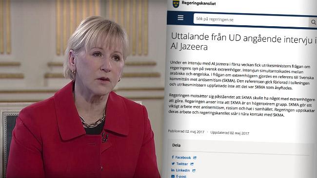 UD påstår att delen om SKMA föll bort ur simultantolkningen. Foto: Faksimil Youtube samt regeringen.se