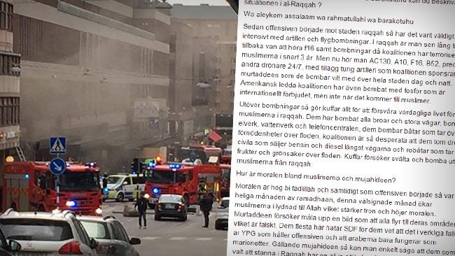 """IS-terrorist uppmanar muslimer i Sverige att begå terrorbrott: """"Hämnas dina syskon!"""""""
