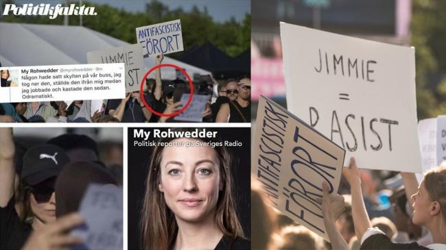 SR-journalist förnekar att hon demonstrerade mot Jimmie Åkesson under betald arbetstid